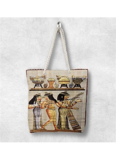 Else Halı Etnik Mısırlı 3D Desenli Fermuarlı Kumaş Omuz Çantası Renkli